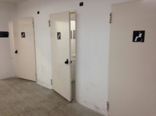 Accessible toilets with signage