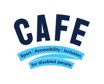 CAFE logo with strapline Sport, Accessibility, Inclusion, for disabled people