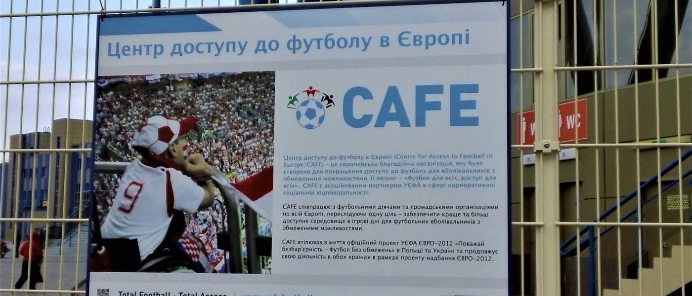CAFE exhibition slide on display in Ukraine
