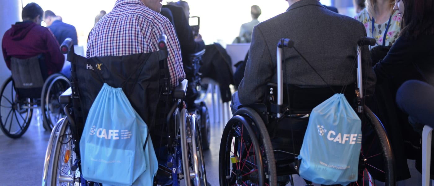 Wheelchair users with CAFE bags