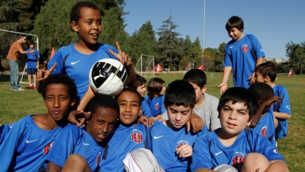 Jewish and Arab children taking part in the Football for All tournament