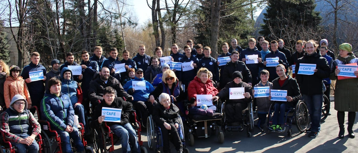 Disabled Dnipro fans at club training session