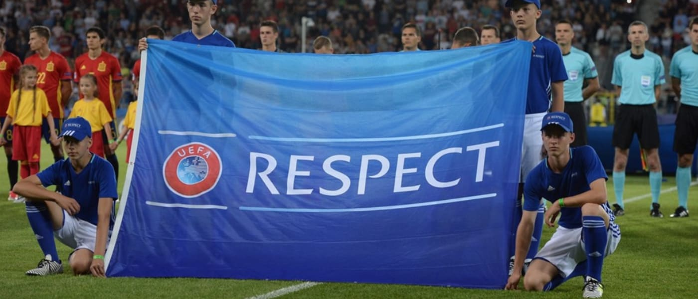 Respect banner displayed on the pitch