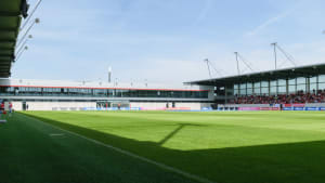 View of FC Bayern Campus from pitchside