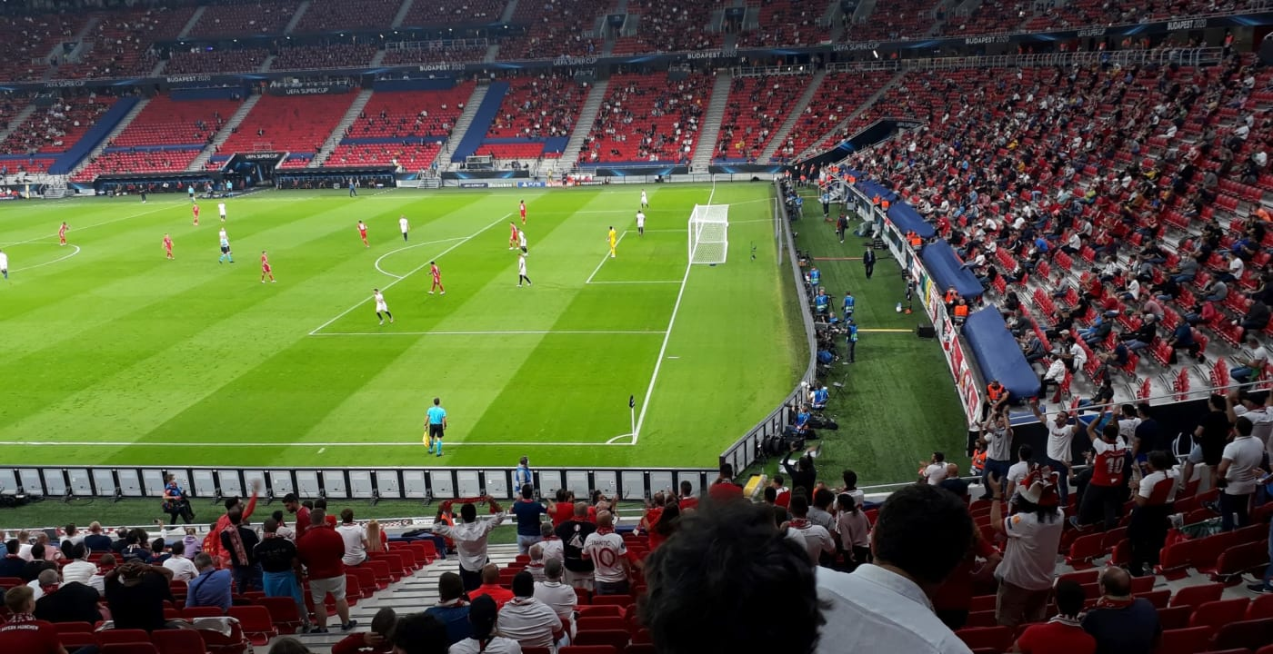 UEFA Super Cup 2020 match view with social distancing in place