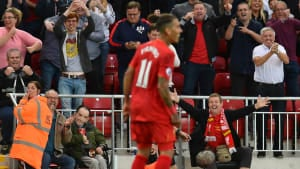 Disabled fans celebrate at Anfield