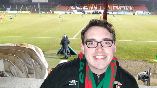 Jason Browning in the stands at Glentoran