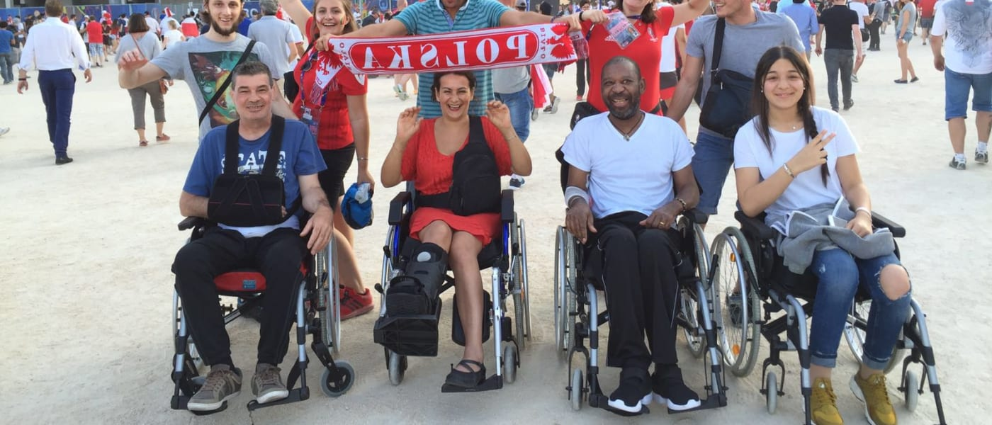 Disabled fans outside a stadium during Euro 2012