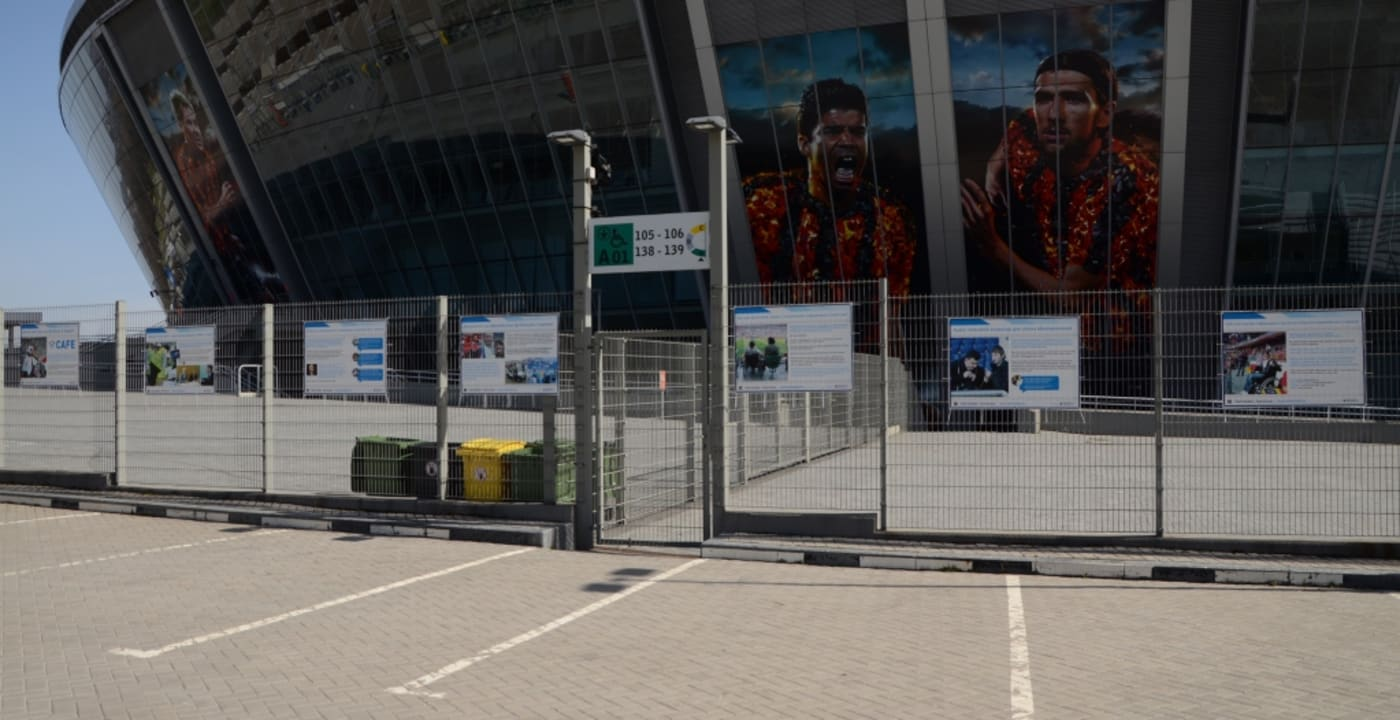 CAFE exhibition slides installed at Donbass Arena