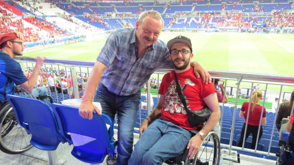 Simon with a fellow fan at Euro 2016
