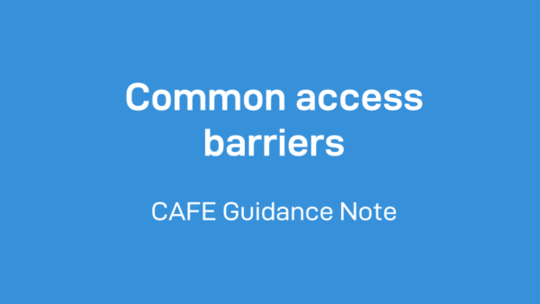 Common access barriers CAFE guidance note