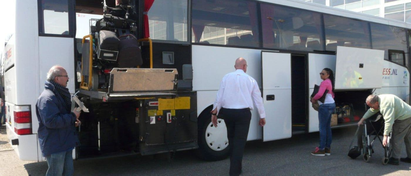 Wheelchair user boarding the bus