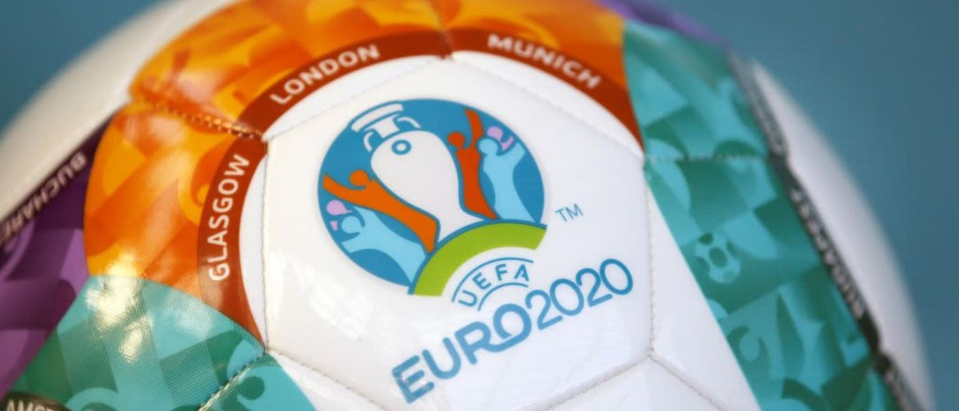 UEFA EURO 2020 football with host cities names