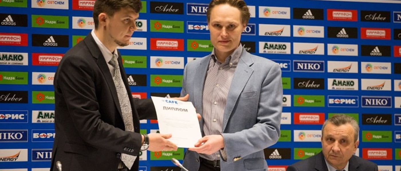 CAFE award being presented to representatives of NSC Olympiyskiy stadium