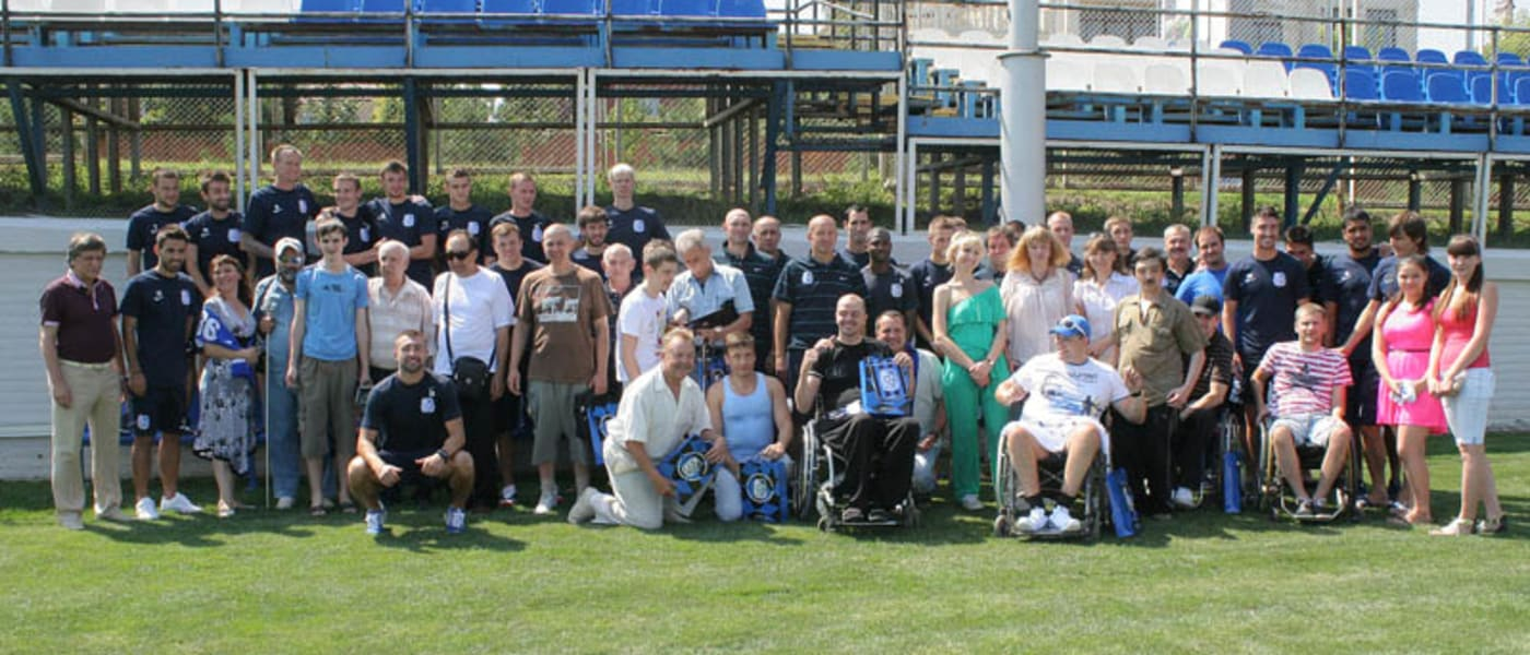Disabled fans at FC Chernomorets training ground