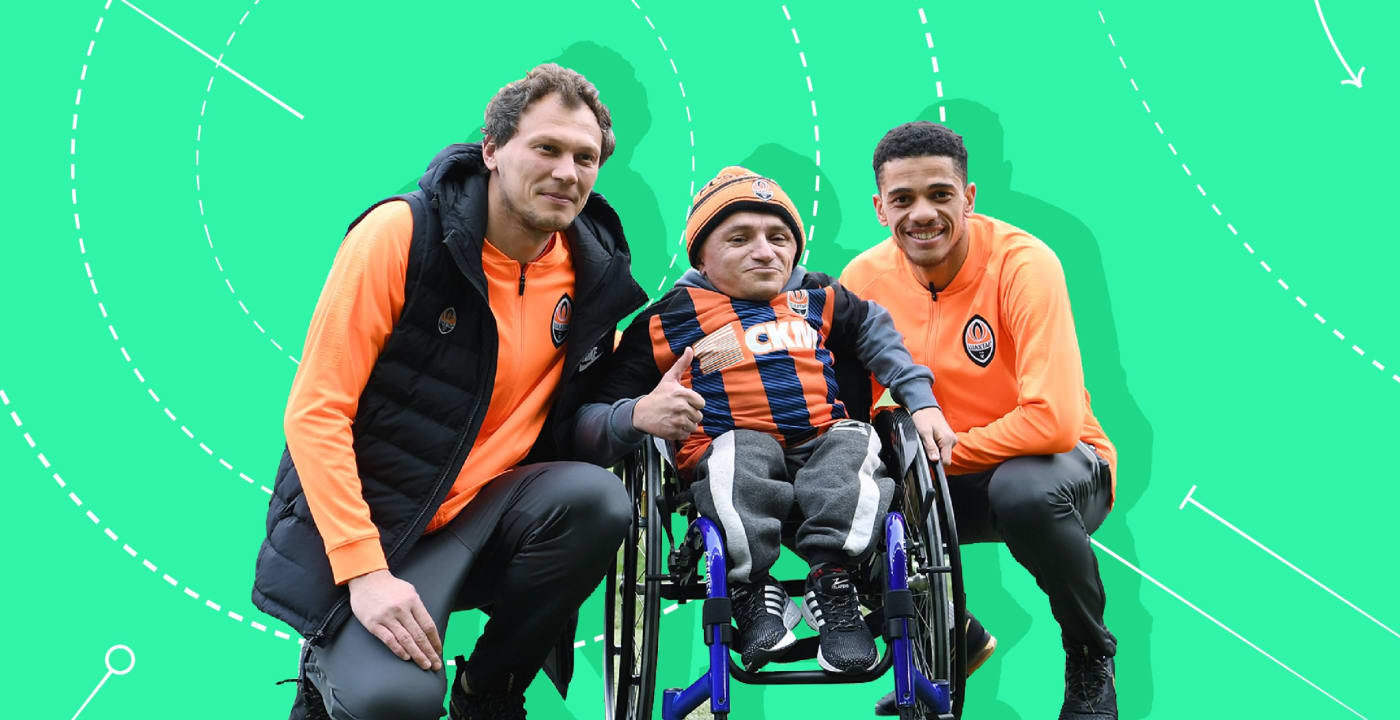 Disabled fan and two players in Ukraine