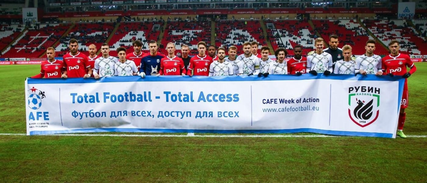 Pre-match CAFE Week of Action ceremony at Rubin Kazan