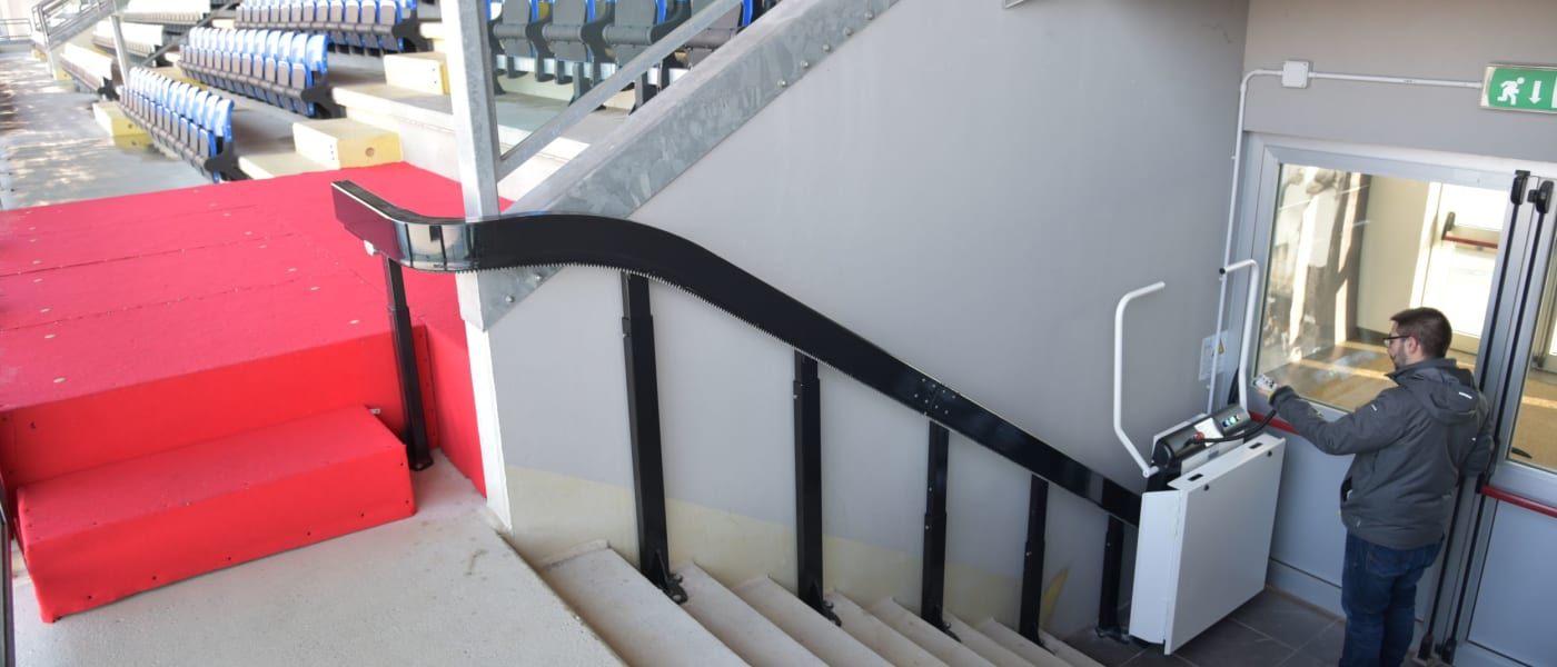 Stairlift at San Marino national stadium